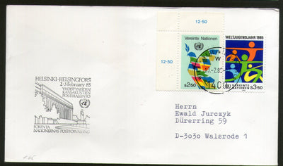United Nations - Vienna 1985 Youth Year Symbolic Flags Helsinki Sp. Cancel # 44 - Phil India Stamps