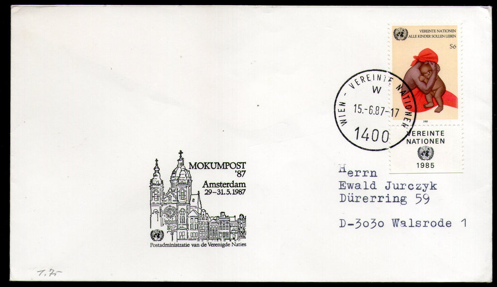 United Nations - Vienna 1987 MOKUMPOST Amsterdam Special Cancellation # 49 - Phil India Stamps