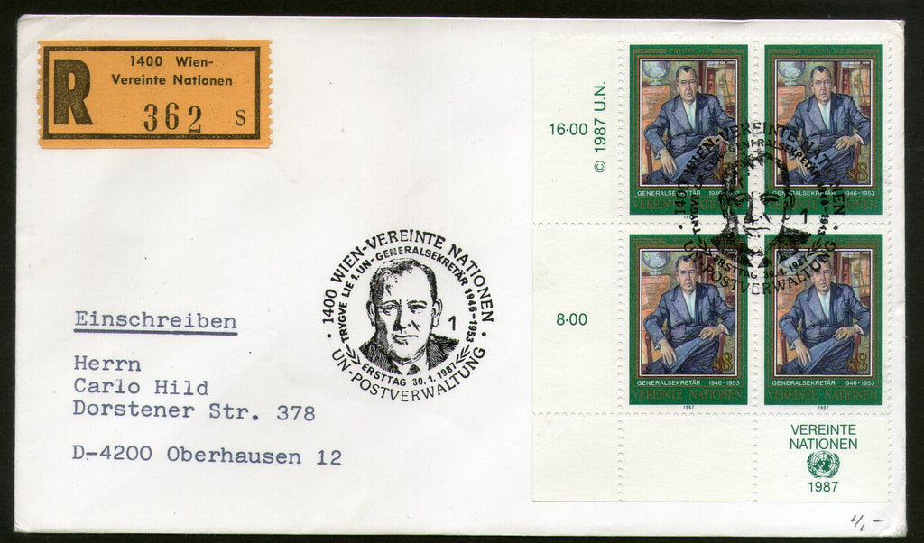 United Nations - Vienna 1987 Trygve Halvdan Lie Secretary General Blk/4 FDC # 54 - Phil India Stamps