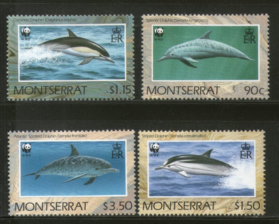 Montserrat 1990 WWF Dolphins Fish Marine Life Animal Fauna Sc 753-56 MNH # 103 - Phil India Stamps