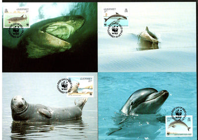 Guernsey 1990 WWF Dolphins Whale Fish Marine Life Animal Sc 441-4 Set Max Cards # 104 - Phil India Stamps