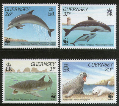 Guernsey 1990 Gray Seal Whale Marine Life Sc 441-44 Animal Fauna WWF MNH # 104 - Phil India Stamps