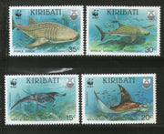 Kiribati 1991 WWF Whale Shark Manta Ray Fish Marine Life Animal Sc 562-65 MNH # 105 - Phil India Stamps