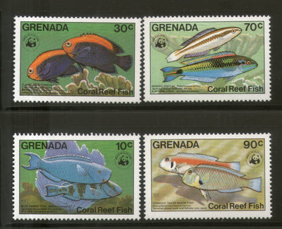 Grenada 1984 WWF Coral Reef Fishes Marine Life 4v Sc 1211-14 MNH # 010 - Phil India Stamps