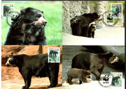 Bolvia 1991 WWF Spectacled Bear Wildlife Animal Sc 827-30 Set of 4 Max Cards # 113 - Phil India Stamps