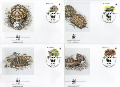 Monaco 1991 WWF Hermann's Tortoise Amphibians Reptiles Wildlife Animal Fauna 4 FDCs # 121 - Phil India Stamps
