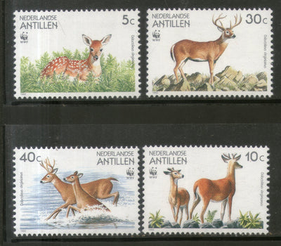 Netherlands Antilles 1992 WWF White-tailed Deer Wildlife Animala Fauna Sc 666-69 MNH # 123 - Phil India Stamps