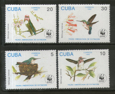 Cuba 1992 WWF Bee Hummingbird Bird Fauna Wildlife Animal Sc 3428-31 MNH # 129 - Phil India Stamps