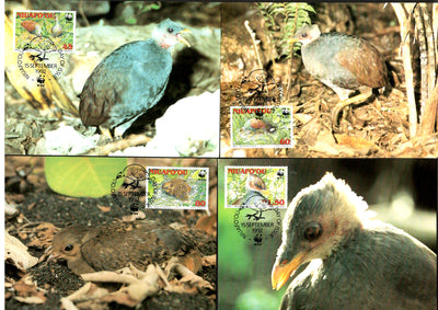 Niuafo'ou 1992 WWF Birds Megapode Wildlife Animals Sc 152-55 Set of 4 Max Cards # 132 - Phil India Stamps