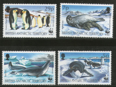 British Antarctic Territory 1991 WWF Penguin Seal Birds Wildlife Sc 192-5 MNH # 134 - Phil India Stamps