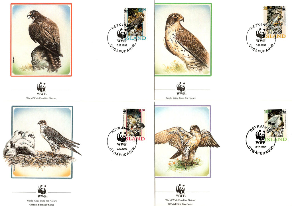 Iceland 1992 WWF Gyrfalcon Birds of Prey Wildlife Animal Fauna Sc 762-65 Set of 4 FDCs # 136 - Phil India Stamps