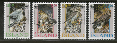 Iceland 1992 WWF Eagle Gyrfalcon Birds of Prey Wildlife Animal Sc 762-65 MNH # 136 - Phil India Stamps