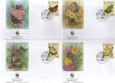 San Marino 1993 WWF Butterflies Moth Insect Wildlife Fauna Sc 1281-84 FDCs # 142