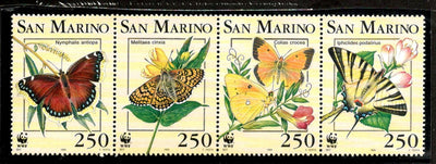 San Marino 1993 WWF Butterflies Moth Insect Wildlife Fauna Sc 1281-84 MNH # 142 - Phil India Stamps