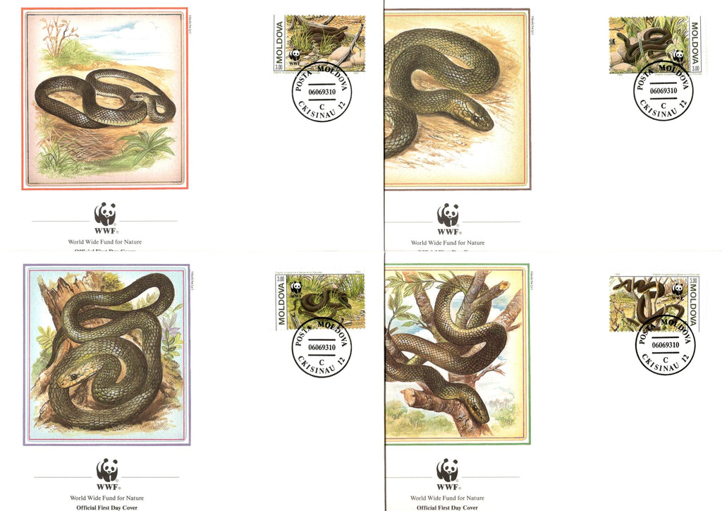 Moldova 1993 WWF Aesculapian Snake Viper Reptiles Wildlife Animals Sc 72a-d Set of 4 FDCs # 143 - Phil India Stamps