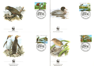New Zealand 1993 WWF Bird Penguin Duck Frog Wildlife Animal Sc 1162 Set of 4 FDCs # 144 - Phil India Stamps