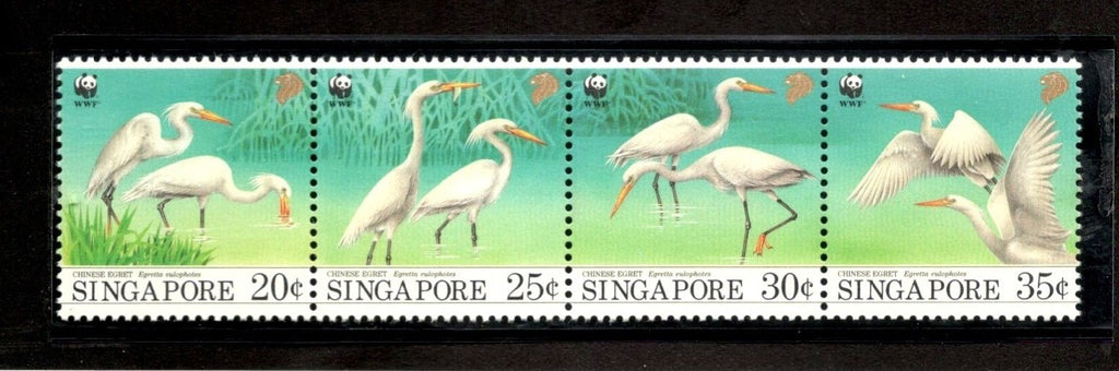 Singapore 1993 WWF Chinese Egret Water Bird Wildlife Fauna Sc 670-73 MNH # 153 - Phil India Stamps