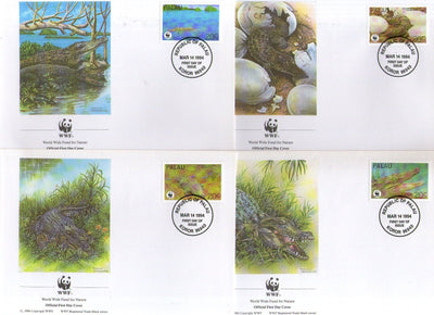 Palau 1994  WWF Estuarine Crocodile Reptiles Amphibians Sc 323 Wildlife Animals Fauna FDCs # 159 - Phil India Stamps