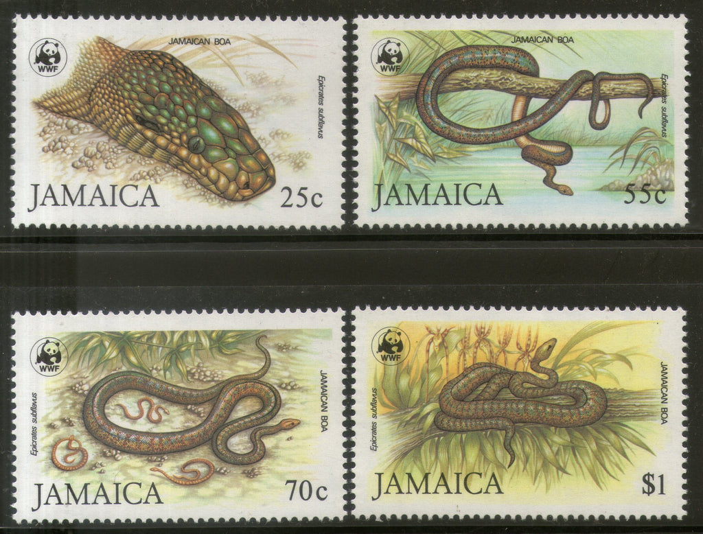 Jamaica 1984 WWF Jamaican Boa Snake Reptiles Wildlife 4v Sc 591-94 MNH # 019 - Phil India Stamps