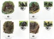 Rwanda 1985 WWF Mountain Gorilla Monkey Sc1205-11 Wildlife Animal Fauna FDC # 24 - Phil India Stamps
