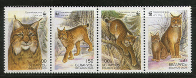 Belarus 2000 WWF Eurasian Lynx Big Cat Wildlife Animal Sc 354-57 MNH # 280