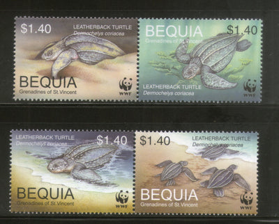 St Vincent Bequia 2001 WWF Leatherback Turtle Reptiles Wildlife Animal Sc 303 MNH # 300