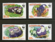 Aitutaki 2002 WWF Tahitian Blue Lorikeet Parrot Birds Wildlife Animals Sc 533-36 MNH # 313