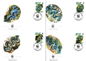 Niue 2002 WWF Small Giant Clam Marinelife Wildlife Animal Sc 769 Set of 4 FDCs # 317 - Phil India Stamps