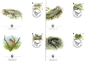 Jersey 2004 Bird l WWF Bird Lizard Insect Wildlife Animal Sc 1134-7 Set of 4 FDCs # 345 - Phil India Stamps