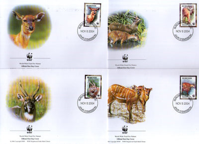 Burundi 2004 WWF Sitatunga Antelope Deer Wildlife Animal Sc 774 Set of 4 FDCs # 353 - Phil India Stamps