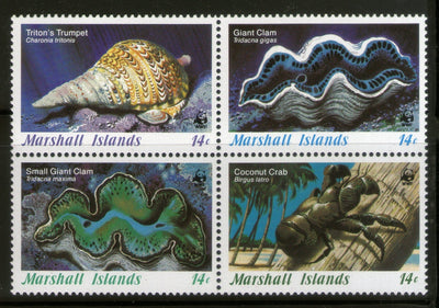 Marshall Islands 1986 WWF Marine Invertebrates Fish Crab 4v Sc 1011-13 MNH # 035 - Phil India Stamps