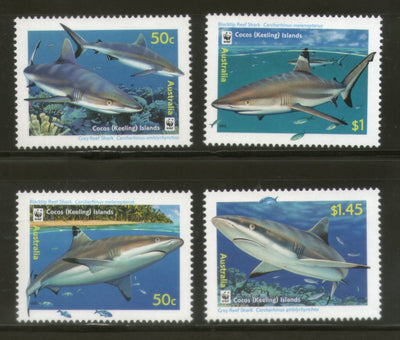 Cocos Keeling Islands 2005 WWF Sharks Fish Marine Life Animal Sc 341-3 MNH # 367