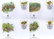 British Virgin Islands 2005 WWF Boa Snake Reptiles Wildlife Sc 1051-54 FDCs # 372