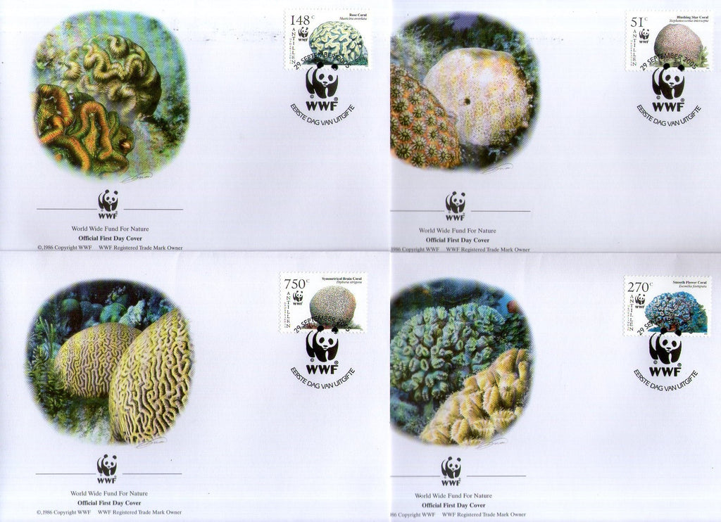 Netherlands Antilles 1994 WWF Caribbean Corals Marine Life Sc 1071 Set of 4 FDCs # 373 - Phil India Stamps