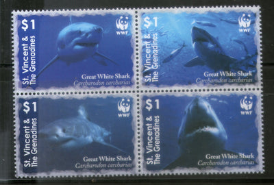 St. Vincent 2006 WWF Great White Shark Fish Marine Life Animal Sc 3529 MNH # 390