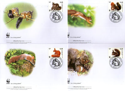 Slovenia 2007 WWF Red Squirrel Wildlife Animal Fauna Sc 714-17 Set of 4 FDCs # 400 - Phil India Stamps