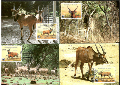 Mali 1986 WWF Derby Eland Antelope Wildlife Animal Sc 542-46 Set of 4 Max Cards # 40 - Phil India Stamps
