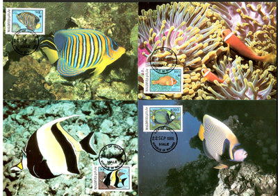 Maldive Islands 1986 WWF Aquarium Fish Marine Life Sc 1185-92 Set 4 Max Card # 41 - Phil India Stamps