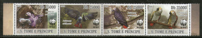 St. Thomas & Prince Islands 2009 WWF Grey Parrot Birds Wildlife Animal Sc 1933-36 MNH # 431