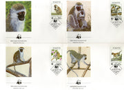St. Kitts 1986 WWF Green Monkey Wildlife Animal Mammals Fauna 4 FDCs Set # 43 - Phil India Stamps