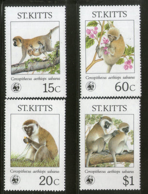 St. Kitts 1986 WWF Green Monkey Sc 189-92 Wildlife Animal Mammal Fauna MNH # 043 - Phil India Stamps