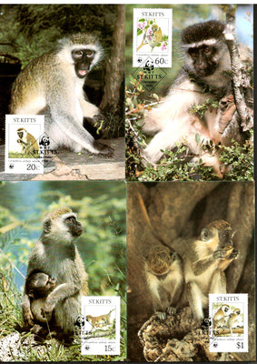 St. Kitts 1986 WWF Green Monkey Wildlife Animal Mammals Sc 189-2 Set 4 Max Cards # 43 - Phil India Stamps