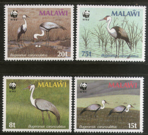 Malawi 1987 WWF Wattled Crane Water Birds Wildlife Fauna 4v Sc 494-97 MNH # 047 - Phil India Stamps