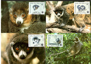 Comoros 1987 WWF Mongoose Lemur Wildlife Animal Sc C171-4 Set of 4 Max Cards # 48 - Phil India Stamps
