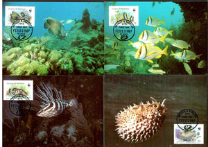Antigua & Barbuda 1987 WWF Fishes Marine Life Corals Fauna Sc 1010 Max Cards # 49 - Phil India Stamps
