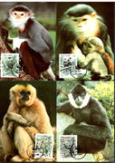 Vietnam 1988 WWF Gibbon Monkey Wildlife Animal Sc 1761-64 Set of 4 Max Cards # 53 - Phil India Stamps