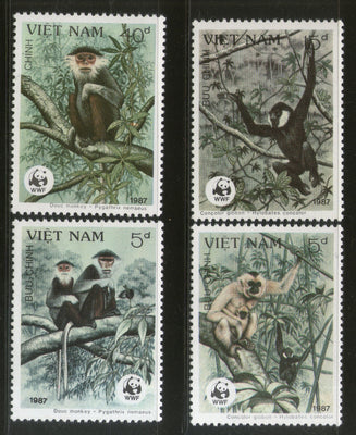 Vietnam 1987 WWF Gibbon Monkey Sc 1761-64 Wildlife Animal Mammal Fauna MNH # 053 - Phil India Stamps