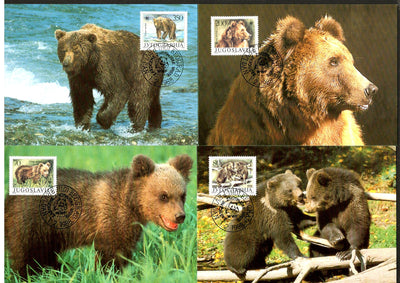 Yugoslvia 1988 WWF Brown Bears Ursus Wildlife Animals Sc 1880-3 Set of Max Cards # 59 - Phil India Stamps