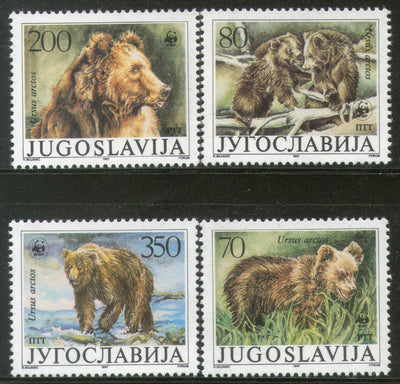 Yugoslavia 1988 WWF Brown Bear Sc 1880-83 Wildlife Animal Mammal Fauna MNH # 059 - Phil India Stamps