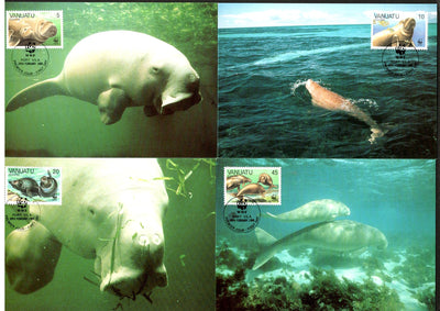 Vanuatu 1988 WWF Dugongs Fish Marine Life Animal Mammal Sc 470-3 Set 4 Max Cards # 62 - Phil India Stamps